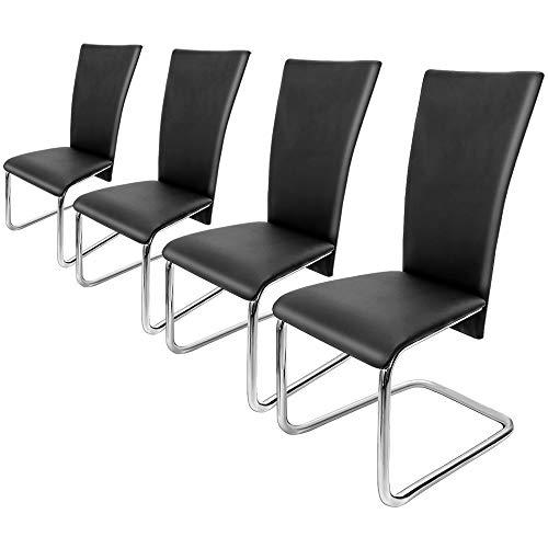 Deuba 4er Set Freischwinger Esszimmerstuhl Schwarz - Schwingstühle Küchenstühle Esszimmer Küchenstuhl Esszimmerstühle Stuhlgruppe