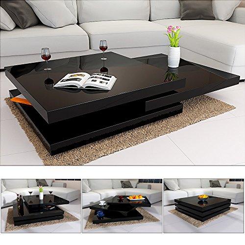 Deuba Couchtisch Hochglanz schwarz | 360° drehbar | Cube Design | modern | 80 x 80 cm - Wohnzimmertisch Beistelltisch Design Lounge Tisch Sofatisch
