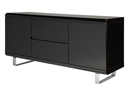 Dynamic24 Sideboard Spacy Hochglanz schwarz Kommode Schubladen Schrank Highboard