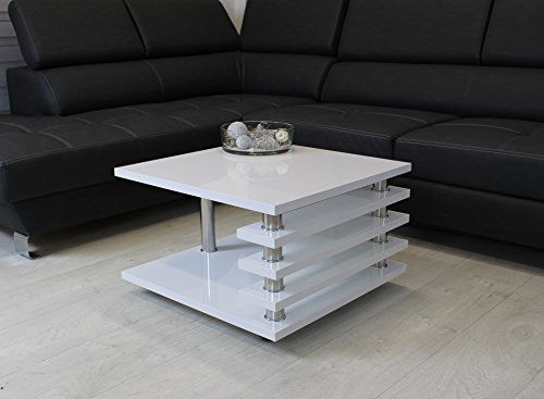 Euro Tische Couchtisch weiß 65x65cm Wohnzimmer Tisch LACK Beistelltisch Hochglanz