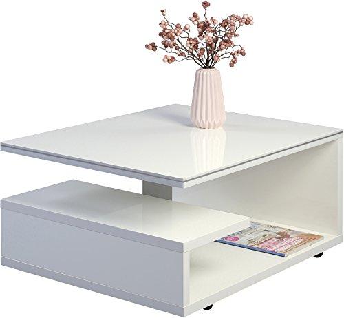 HomeTrends4You 163150 Couchtisch Tivoli, Holz Weiß Hochglanz lackiert mit Dekorstreifen silber, 77x60cm, Höhe 39 cm