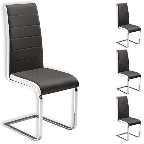 IDIMEX Freischwinger Esszimmerstuhl Küchenstuhl Stuhlgruppe EVELYN, 4er Pack, Lederimitat grau