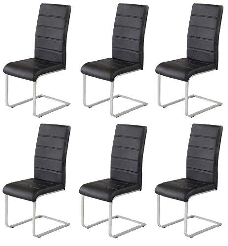 Ilert 6 x Agionda ® Design Stuhl Freischwinger Jan Piet PU Kunstleder schwarz 120 kg belastbar Gestell einteilig Polsterstuhl Esszimmerstuhl