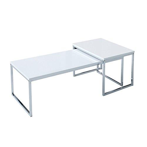 Invicta Interior 2er Set Couchtisch NOBILE 100cm Hochglanz weiß Chrom Tischset Satztische Beistelltische Tische Wohnzimmer