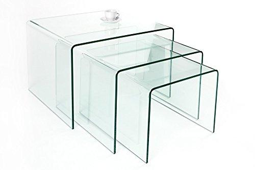 Invicta Interior 3er Set Glas Couchtisch Ghost 60cm Beistelltische transparent Glastisch Tische