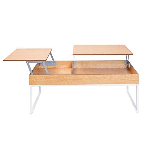 Invicta Interior Funktionaler Design Couchtisch Fabric Eiche weiß ausklappbar Wohnzimmertisch mit klappbaren Tischplatten
