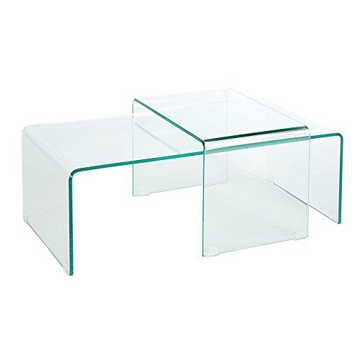 Invicta Interior Hochwertiges 2er Set Glas Couchtisch Ghost transparent Glastisch Satztische Tische Glas Wohnzimmertisch