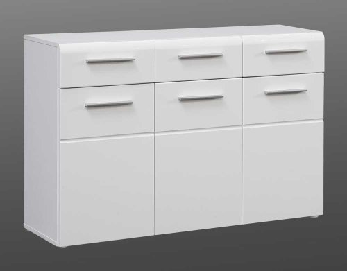 Kommode mit Fronten in weiß Hochglanz, Korpus in weiß matt, Sideboard mit 3 Türen und 3 Schubladen, hinter jeder Tür 1 Einlegeboden