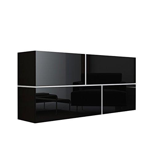 Mirjan24  Kommode Goya, Hängekommode, Anrichte, Mehrzweckschrank, Wohnzimmerschrank, Highboard, Sideboard, Wohnzimmer Schrank (Schwarz/Schwarz Hochglanz + Weiß)