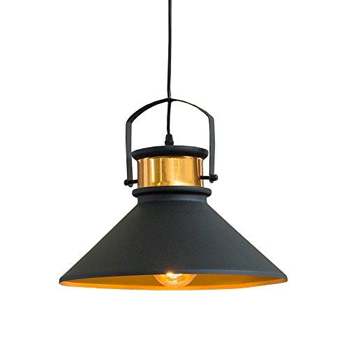 Retro Hängeleuchte LUZ III schwarz Gold Industrial Design E27 Hängelampe Pendelleuchte Industrielampe Industrieleuchte