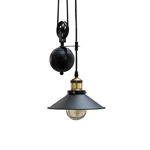 Retro Hängeleuchte Rope schwarz höhenverstellbar Seilzug Industrial Design Industrielampe Industrieleuchte Pendelleuchte…
