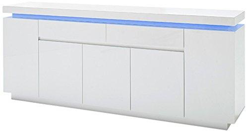 Robas Lund, Sideboard, Kommode, Ocean, Hochglanz/weiß, LED, inkl. Fernbedienung, 200 x 40 x 81 cm, 48985WW8