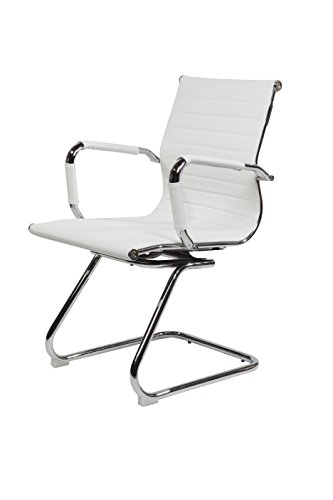 SVITA Design Bürostuhl Chrom Rahmen Elegance Chefsessel Drehstuhl Konferenz-Stuhl (Weiß, Freischwinger)