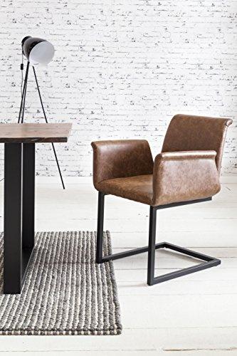 SalesFever 2er Set Freischwinger Gaia in Hellbraun, Stuhl in Elegantem Design, Esszimmerstuhl mit Kunstleder bezogen, schwarz lackiertem Fuß,