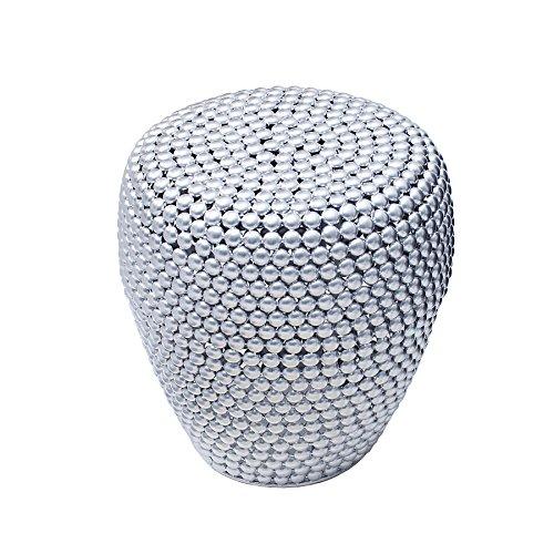 Stilvoller Beistelltisch PEARLS 50 cm silber Ethno Hocker Couchtisch Wohnzimmertisch Metalltisch Handarbeit handgefertigt Vintage Shabby Metallkorb Korb