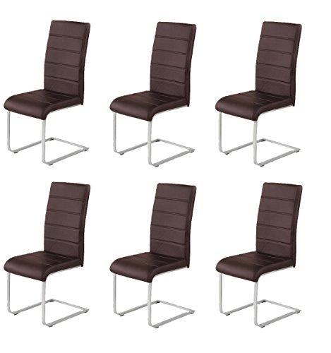 agionda 6 x Freischwinger Jan Piet Esszimmerstühle Kunstleder braunNEU Jetzt 120 kg belastbar Gestell einteilig Stuhl Polsterstuhl 6 er Set Esszimmerstuhl