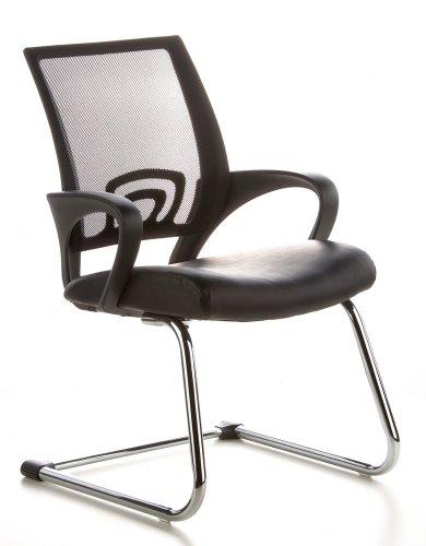 hjh OFFICE 650400 Konferenzstuhl Freischwinger VISTO NET V Netzstoff schwarz chrom, ergonomischer Besucherstuhl, wertige Verarbeitung, feste Armlehnen, Besucherstuhl, Büro Sessel, Küchenstuhl
