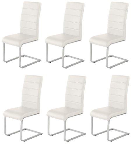 6 x Design Stuhl Freischwinger Piet 32 Kunstleder weiss Esszimmerstuhl