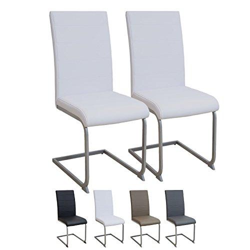 ALBATROS Freischwinger Murano 2-er Set Weiss, SGS geprüft, Elegante Esszimmerstühle/Schwingstühle, bequem gepolstert