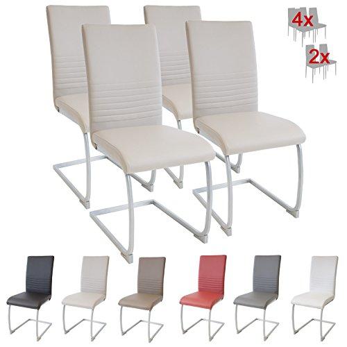 ALBATROS Freischwinger Murano 4-er Set Beige, SGS geprüft, Elegante Esszimmerstühle/Schwingstühle, bequem gepolstert