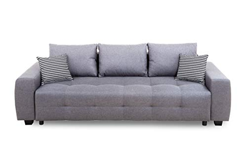 Collection AB Bellezza Schlafsofa, Stoff, Hellgrau, 94 x 241 x 90 cm