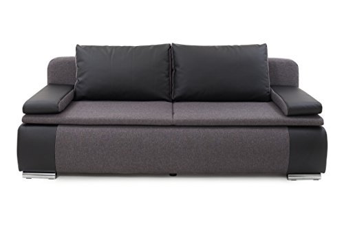 Collection AB Lina Schlafsofa, Stoff, Schwarz-Grau, 87 x 201 x 88 cm