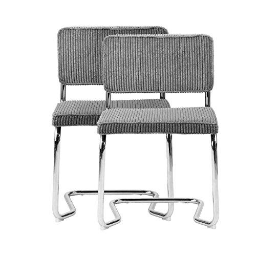 Butlers Style Council Freischwinger 2er-Set - Esszimmer-Stuhl - Büro-Stuhl - Design - modern - Metall - Kunststoff - 46x46x84 cm