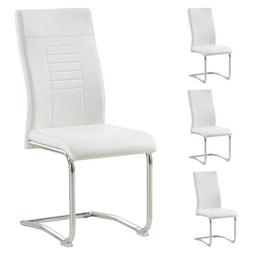 CARO-Möbel 4er Set Esszimmerstuhl Loano Küchenstuhl Schwingstuhl, Gestell in Chrom, Bezug aus Lederimitat in weiß