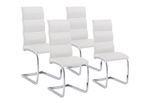 CAVADORE 4er-Set Esszimmerstuhl Bow,4X Schwinger in Elegantem Design als Set,Bezug Lederimitat weiß,Metallgestell verchromt,44 x 101 x 58 cm (B x H x T)