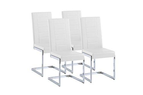 CAVADORE Schwingstuhl 4-er Set Christiano,4X Freischwinger in modernem Design,Bezug Lederimitat Weiß,Gestell Metall verchromt,61 x 43 x 99 cm,(T x B x H)