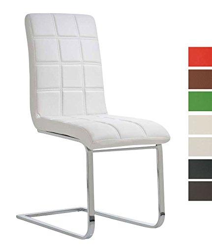 CLP Freischwinger EMILY mit hochwertiger Polsterung und Kunstlederbezug I Ergonomischer Schwingstuhl mit Metallgestell und einer Sitzhöhe von: 50 cm Weiß