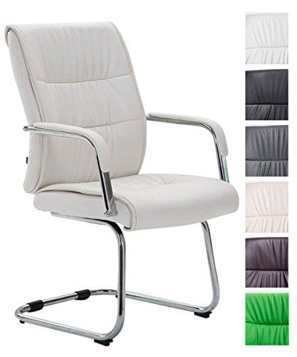 CLP Freischwingerstuhl Sievert Mit Polsterung Und Kunstlederbezug I Konferenzstuhl Mit Armlehne, Farbe:weiß
