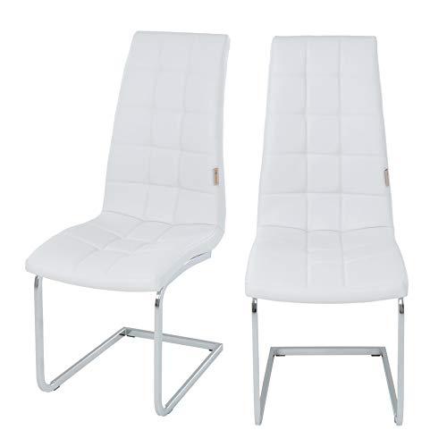 ESTEXO 2/4/6/8x Esszimmerstuhl Freischwinger, Küchenstuhl, Schwingstuhl, Esszimmerstühle, Sitzgruppe, Stuhlgruppe (2 Stück, Weiß)