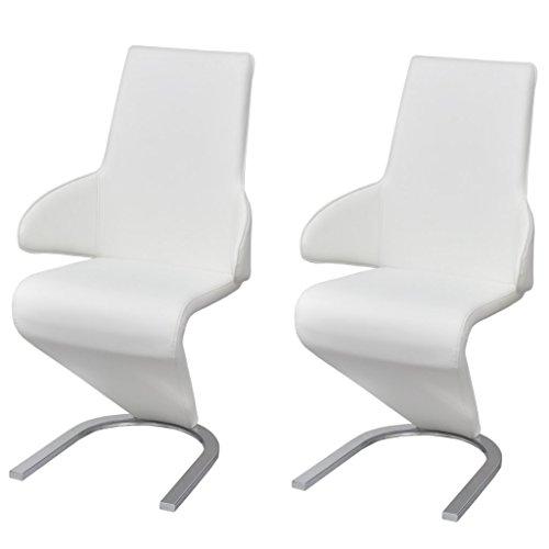 Festnight 2 Stücke Esszimmerstühle Freischwinger Essstuhl aus Kunstleder Küchenstühle Stuhl mit Armlehne Weiß