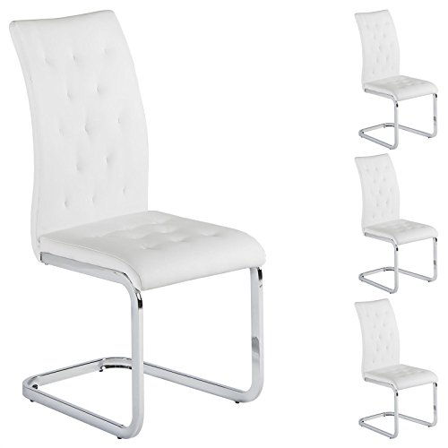 IDIMEX 4er Set Esszimmerstuhl Schwingstuhl Freischwinger Chloe, in weiß, Metallgestell hochwertig verchromt