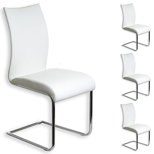 IDIMEX Esszimmerstuhl Schwingstuhl ALADINO, Set mit 4 Stühlen Chrom/weiß
