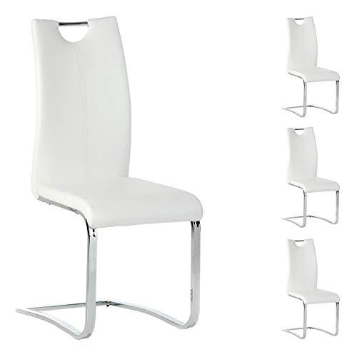 IDIMEX Esszimmerstuhl Schwingstuhl SABA, Set mit 4 Stühlen, chrom/weiß