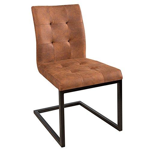 Invicta Interior Design Freischwinger Stuhl Oxford Cognac Vintage braun Gestell Eisen Schwarz Schwingerstuhl…