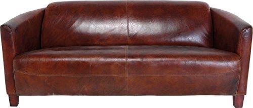 Kare Design Sofa Cigar Lounge, moderne Ledercouch aus Top Grain Rindsleder, bequemes 2Sitzer/3Sitzer Ledersofa, Cognacfarben (H/B/T) 70x176x83cm