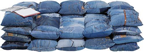 Kare Design Sofa Jeans Cushions, 2-Sitzer Couch im Patchworkstil, Polstersofa aus Original Jeans Kissen, Blau (H/B/T) 70x210x130cm