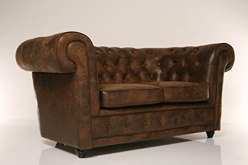Kare Sofa Oxford 2-Sitzer Vintage Econo, Sitzmöbel in Sitzmöbel in Echtleder Optik, bequeme Ottomane im Vintage-Stil, robuster Couch im Kolonialstil, (H/B/T) 76 x 160 x 92 cm