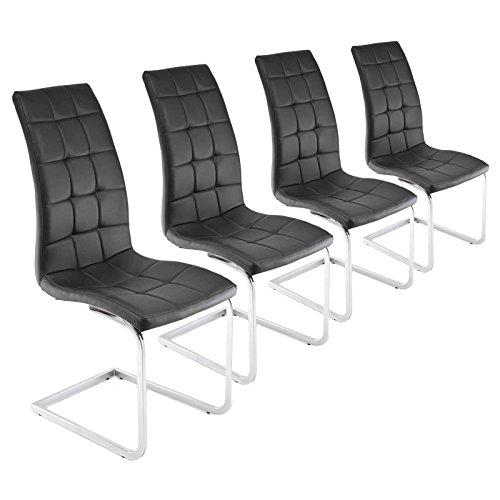 MACO Import Esszimmerstühle Schwingstühle Freischwinger Chrom Kunstleder schwarz 4er Set