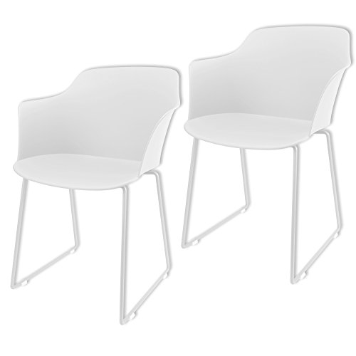 MIKU© Armlehnenstuhl 2er-Set Schalenstuhl Stockholm weiß Stuhl Sitzschale Esszimmerstuhl Lehnenstuhl (2er Set weiß)