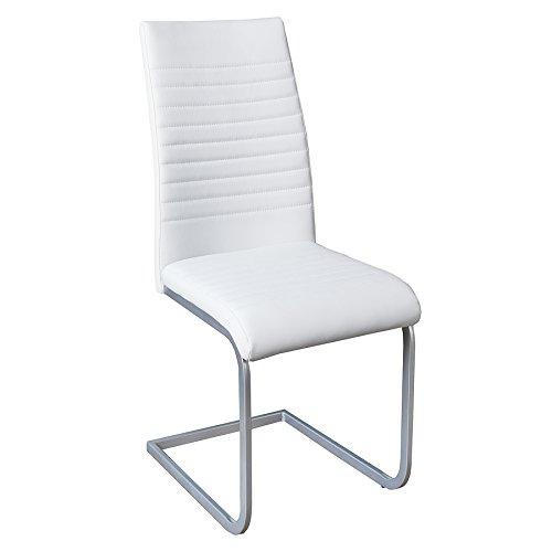 Invicta Interior Moderner Freischwinger Stuhl APPARTMENT weiß Chromgestell matt lackiert Esszimmerstuhl Stuhl
