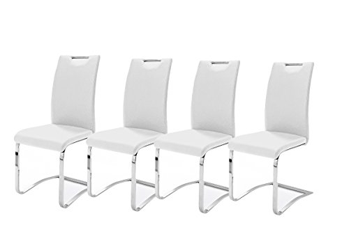 Robas Lund Esszimmerstühle 4er set, Schwingstuhl belastbar bis 120 kg, Stuhl Weiß, Komfortsitzhöhe 47 cm