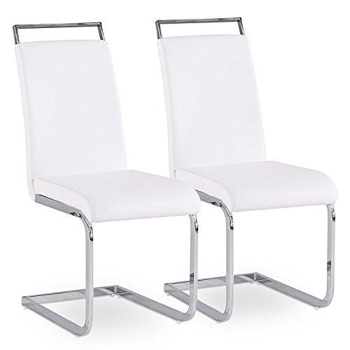 SVITA 2er Set Esszimmerstuhl Küchenstühle Polsterstuhl Freischwinger Stuhlgruppe (Weiß)