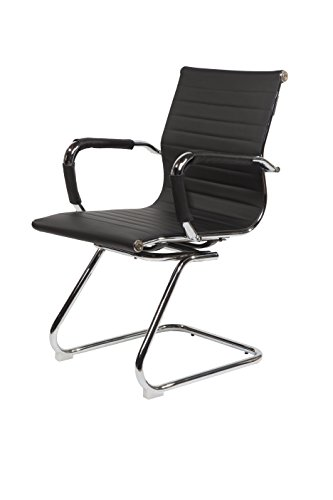 SVITA Design Bürostuhl Chrom Rahmen Elegance Chefsessel Drehstuhl Konferenz-Stuhl (Schwarz, Freischwinger)