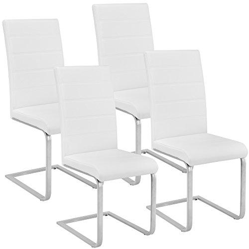 TecTake Esszimmerstühle Schwingstuhl Set | Kunstleder - Diverse Farben - (4er Set weiß | Nr. 402554)