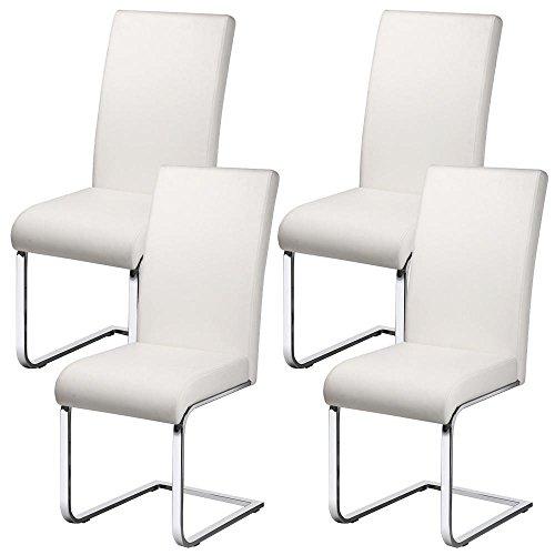Yaheetech Esszimmerstühle 4er Set Schwingstuhl Freischwinger stühle, Kunstleder Bezug, 135 kg belastbar