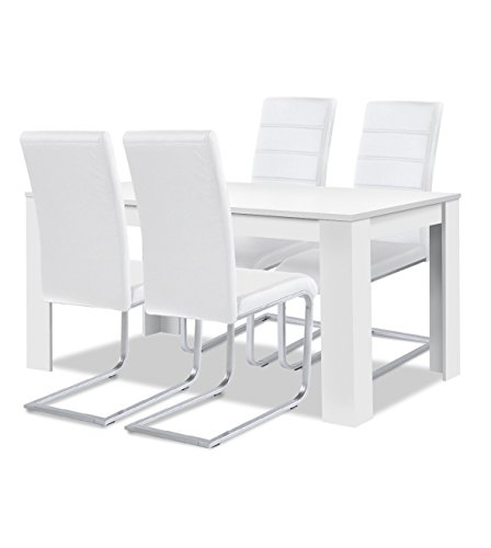 agionda® Esstisch + Stuhlset : 1 x Esstisch Toledo 140 x 90 Weiss + 4 Freischwinger Kunstleder Weiss